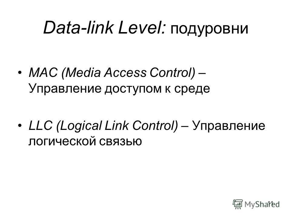 11 Data-link Level: подуровни MAC (Media Access Control) – Управление доступом к среде LLC (Logical Link Control) – Управление логической связью