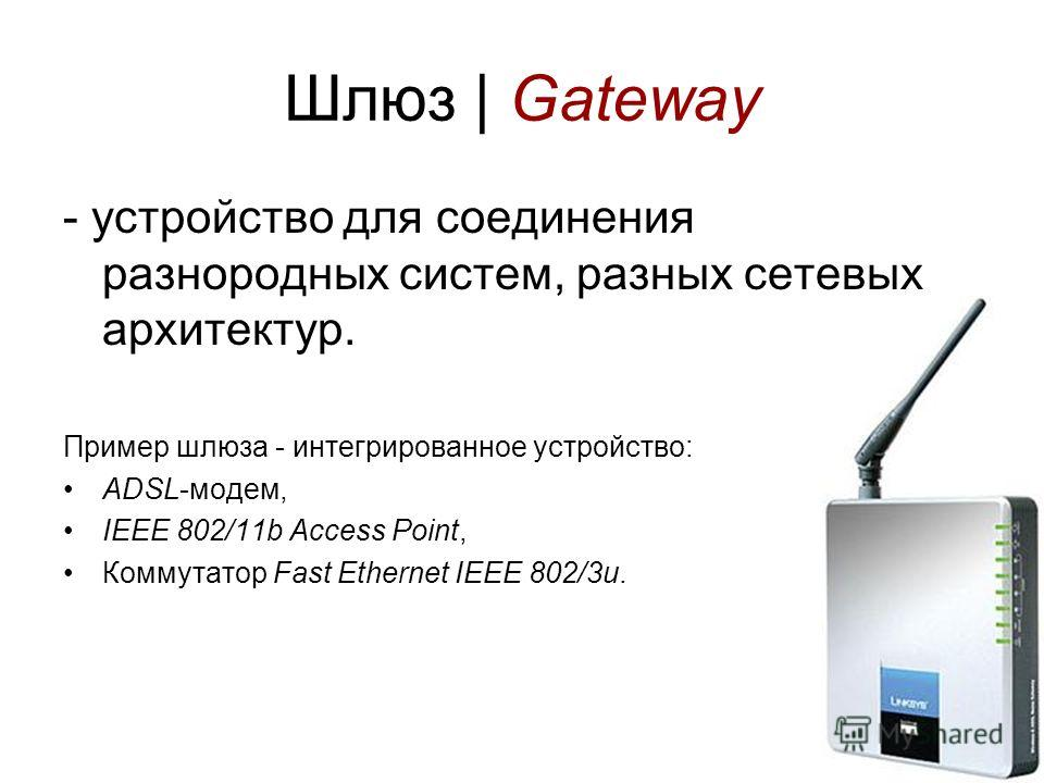 28 Шлюз | Gateway - устройство для соединения разнородных систем, разных сетевых архитектур. Пример шлюза - интегрированное устройство: ADSL-модем, IEEE 802/11b Access Point, Коммутатор Fast Ethernet IEEE 802/3u.