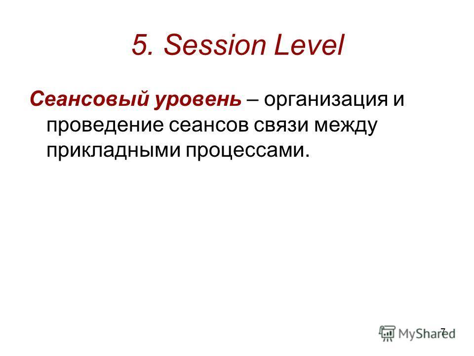 7 5. Session Level Сеансовый уровень – организация и проведение сеансов связи между прикладными процессами.