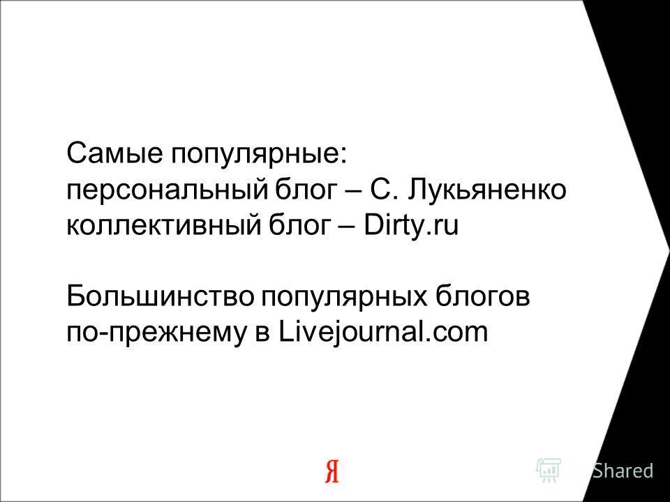 Самые популярные: персональный блог – С. Лукьяненко коллективный блог – Dirty.ru Большинство популярных блогов по-прежнему в Livejournal.com