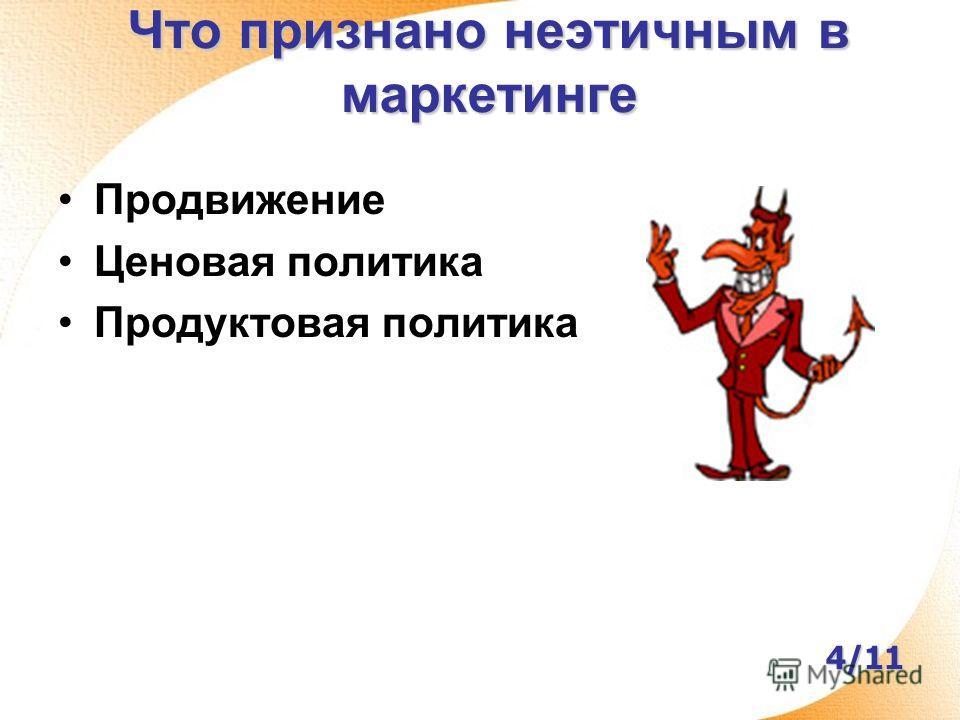 Что признано неэтичным в маркетинге Продвижение Ценовая политика Продуктовая политика 4/11