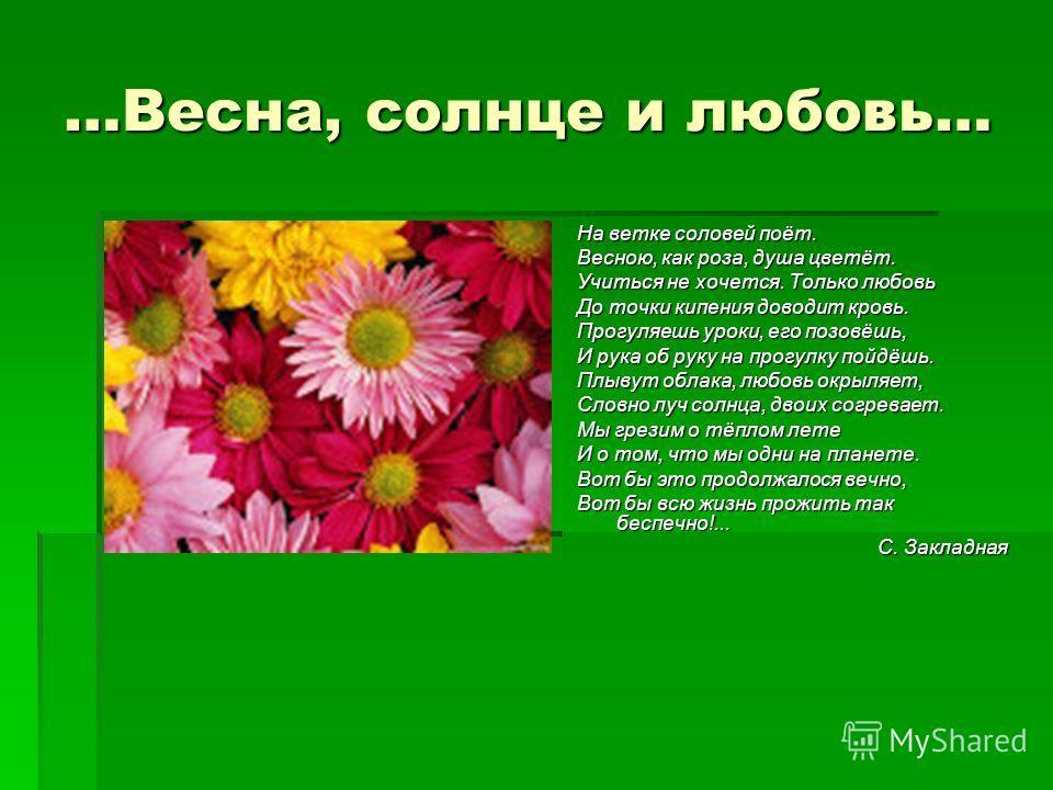 …Весна, солнце и любовь… На ветке соловей поёт. Весною, как роза, душа цветёт. Учиться не хочется. Только любовь До точки кипения доводит кровь. Прогуляешь уроки, его позовёшь, И рука об руку на прогулку пойдёшь. Плывут облака, любовь окрыляет, Словн