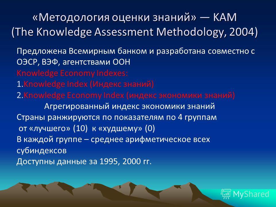 «Методология оценки знаний» KAM (The Knowledge Assessment Methodology, 2004) Предложена Всемирным банком и разработана совместно с ОЭСР, ВЭФ, агентствами ООН Knowledge Economy Indexes: 1.Knowledge Index (Индекс знаний) 2.Knowledge Economy Index (инде