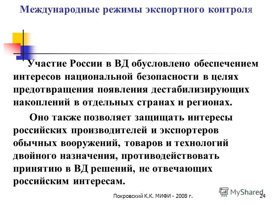Покровский К.К. МИФИ - 2008 г.24 Международные режимы экспортного контроля Участие России в ВД обусловлено обеспечением интересов национальной безопасности в целях предотвращения появления дестабилизирующих накоплений в отдельных странах и регионах.