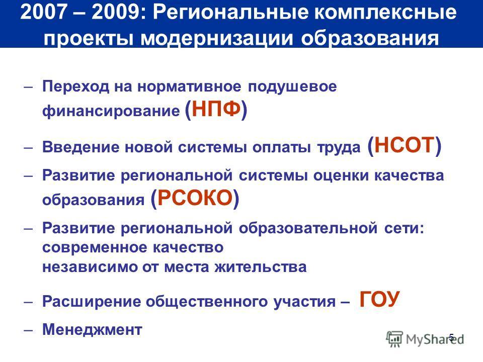 5 2007 – 2009: Региональные комплексные проекты модернизации образования –Переход на нормативное подушевое финансирование (НПФ) –Введение новой системы оплаты труда (НСОТ) –Развитие региональной системы оценки качества образования (РСОКО) –Развитие р