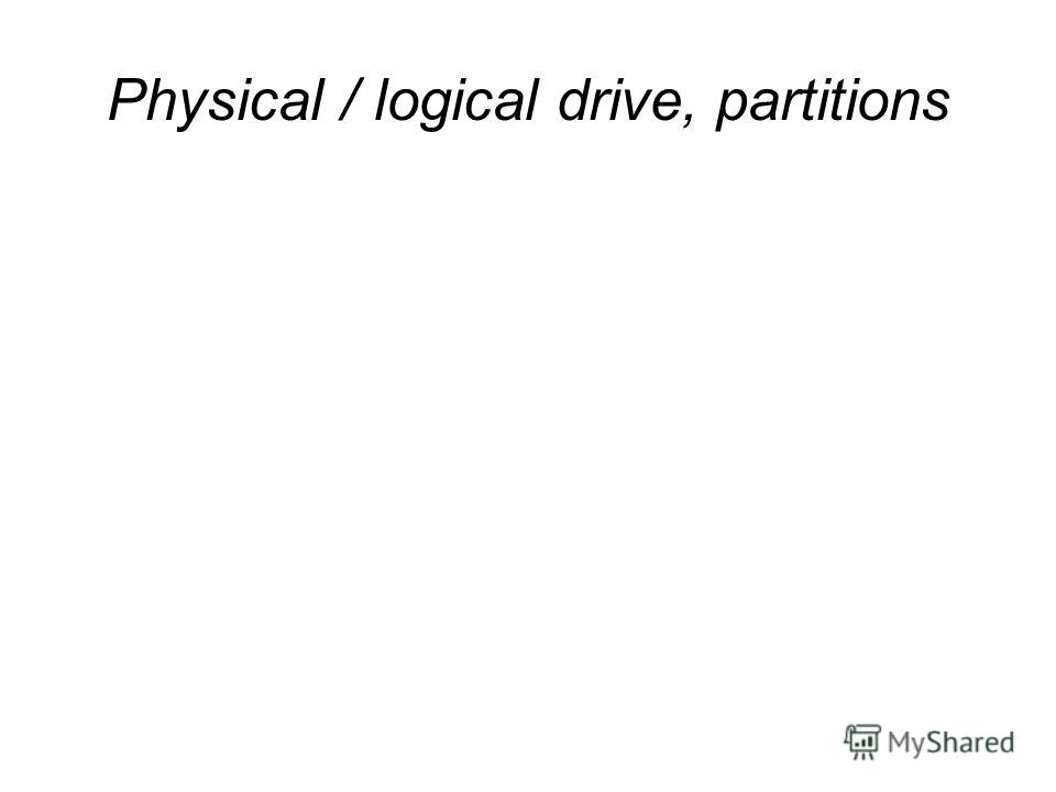 Physical / logical drive, partitions