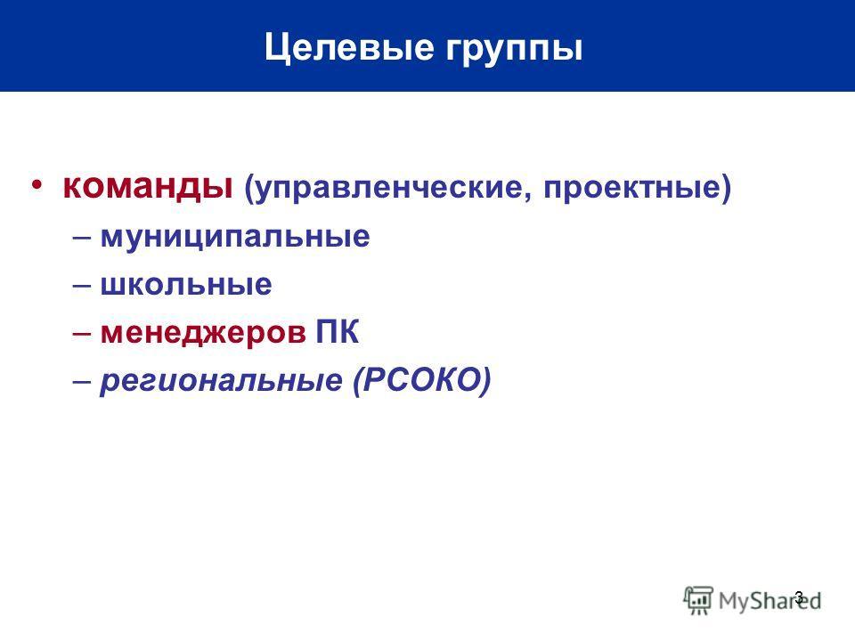 3 Целевые группы команды (управленческие, проектные) –муниципальные –школьные –менеджеров ПК –региональные (РСОКО)