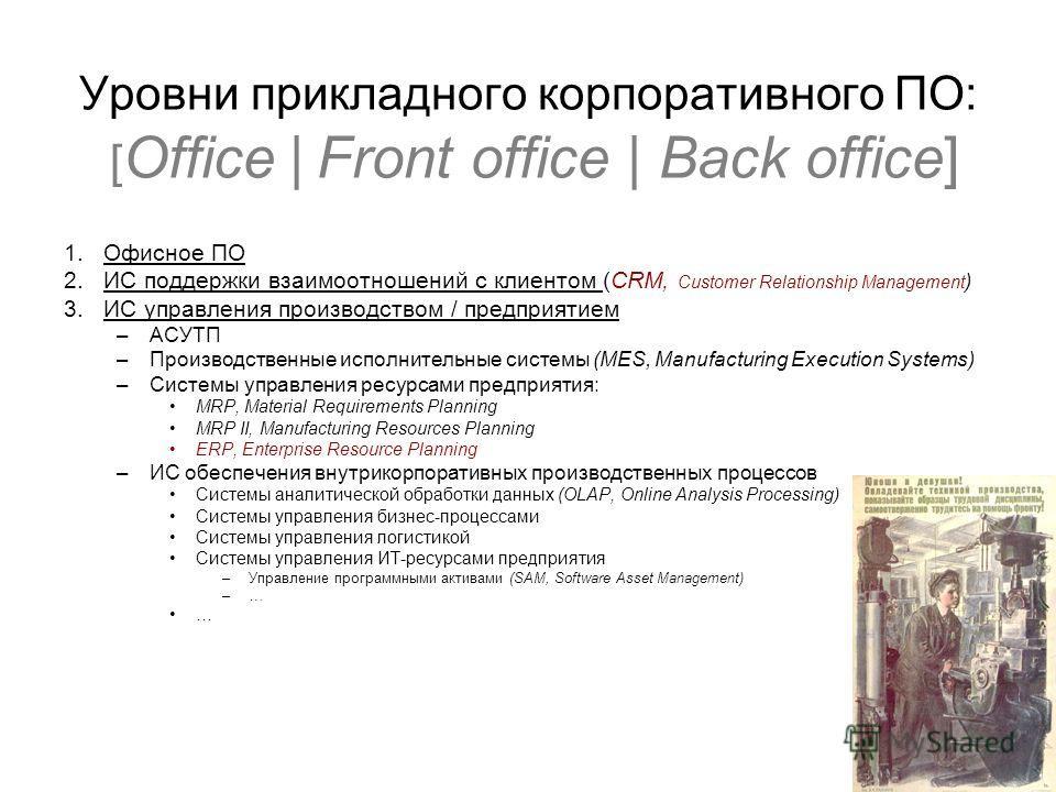 Уровни прикладного корпоративного ПО: [ Office | Front office | Back office] 1.Офисное ПО 2.ИС поддержки взаимоотношений с клиентом (CRM, Customer Relationship Management ) 3.ИС управления производством / предприятием –АСУТП –Производственные исполни
