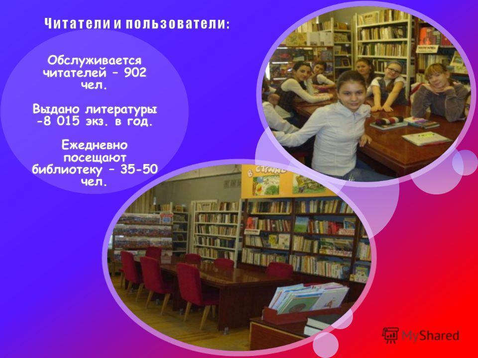Обслуживается читателей – 902 чел. Выдано литературы -8 015 экз. в год. Ежедневно посещают библиотеку – 35-50 чел.