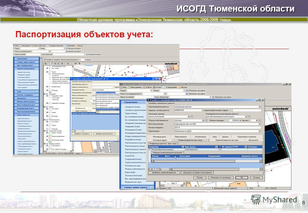 ИСОГД Тюменской области Областная целевая программа «Электронная Тюменская область 2006-2008 годы» 8 Паспортизация объектов учета: 8