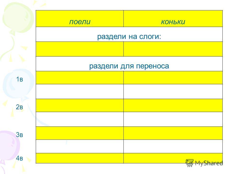 поеликоньки раздели на слоги: раздели для переноса 1в 2в 3в 4в