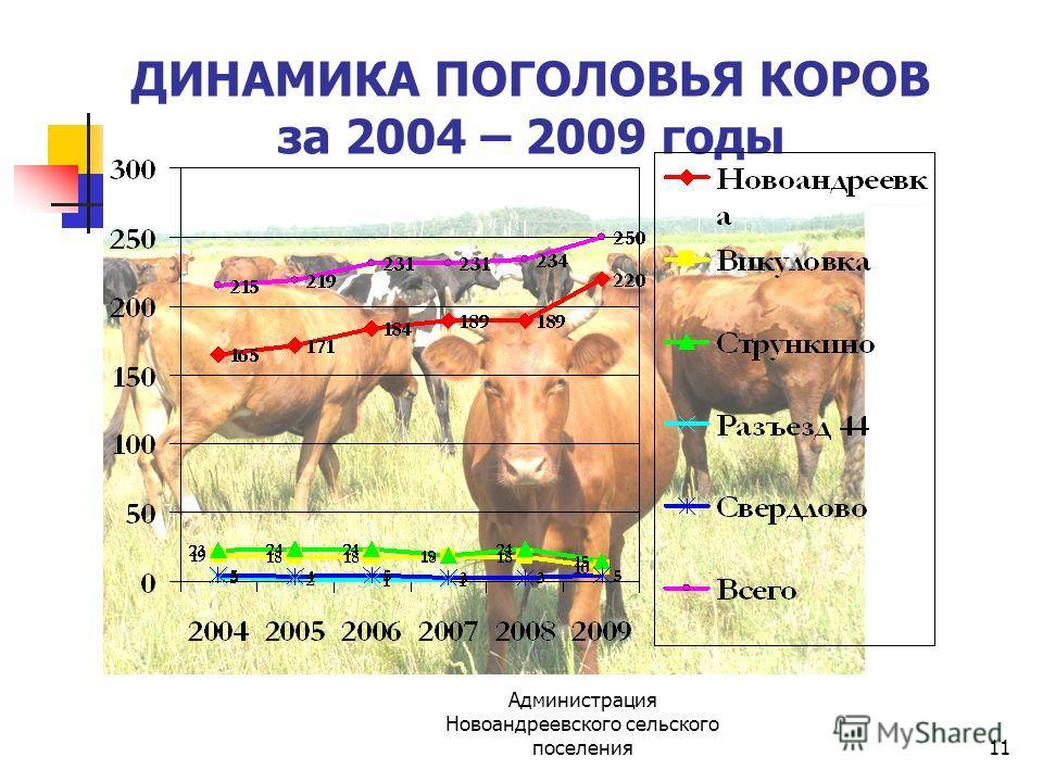 Администрация Новоандреевского сельского поселения11 ДИНАМИКА ПОГОЛОВЬЯ КОРОВ за 2004 – 2009 годы