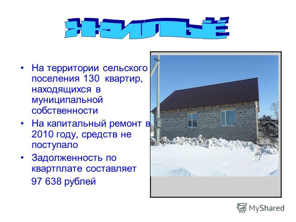 На территории сельского поселения 130 квартир, находящихся в муниципальной собственности На капитальный ремонт в 2010 году, средств не поступало Задолженность по квартплате составляет 97 638 рублей