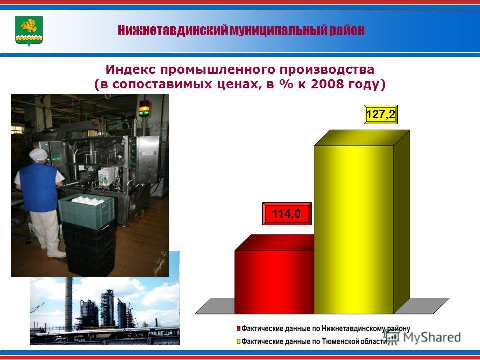 Нижнетавдинский муниципальный район Индекс промышленного производства (в сопоставимых ценах, в % к 2008 году) 114,0 127,2