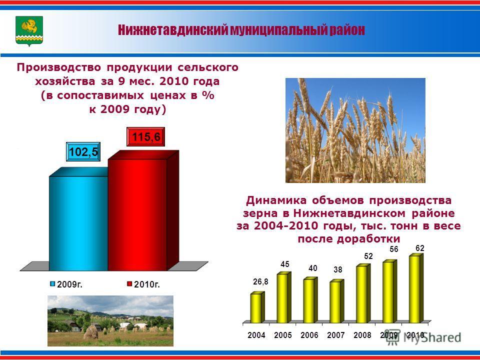 Нижнетавдинский муниципальный район Производство продукции сельского хозяйства за 9 мес. 2010 года (в сопоставимых ценах в % к 2009 году) 102,5 115,6 Динамика объемов производства зерна в Нижнетавдинском районе за 2004-2010 годы, тыс. тонн в весе пос