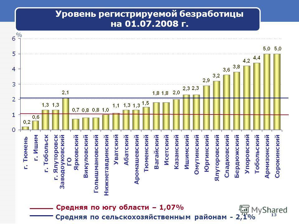 13 Уровень регистрируемой безработицы на 01.07.2008 г. % Средняя по сельскохозяйственным районам - 2,1% Средняя по югу области – 1,07%