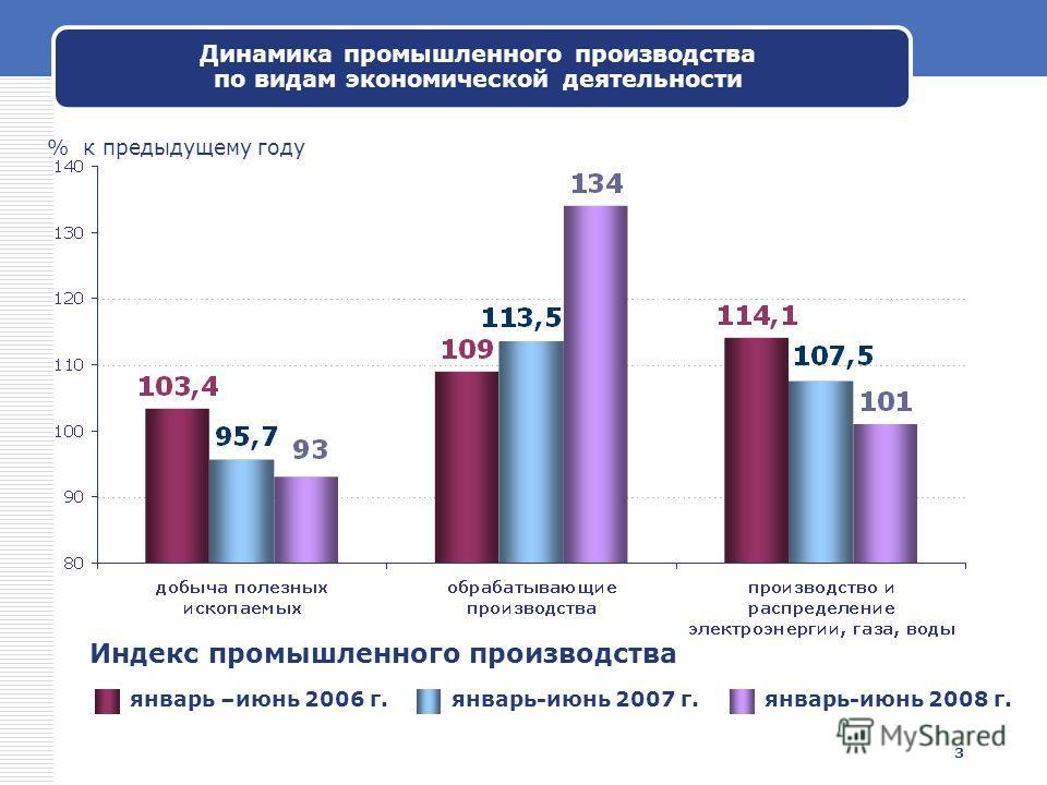 3 Динамика промышленного производства по видам экономической деятельности Индекс промышленного производства январь –июнь 2006 г.январь-июнь 2007 г.январь-июнь 2008 г. % к предыдущему году