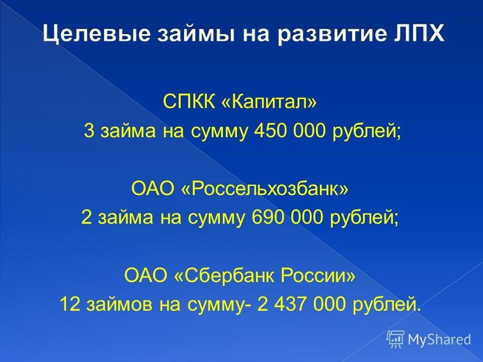 СПКК «Капитал» 3 займа на сумму 450 000 рублей; ОАО «Россельхозбанк» 2 займа на сумму 690 000 рублей; ОАО «Сбербанк России» 12 займов на сумму- 2 437 000 рублей.