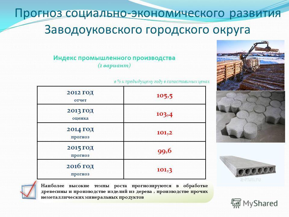 Прогноз социально-экономического развития Заводоуковского городского округа 2012 год отчет 105,5 2013 год оценка 103,4 2014 год прогноз 101,2 2015 год прогноз 99,6 2016 год прогноз 101,3 Наиболее высокие темпы роста прогнозируются в обработке древеси