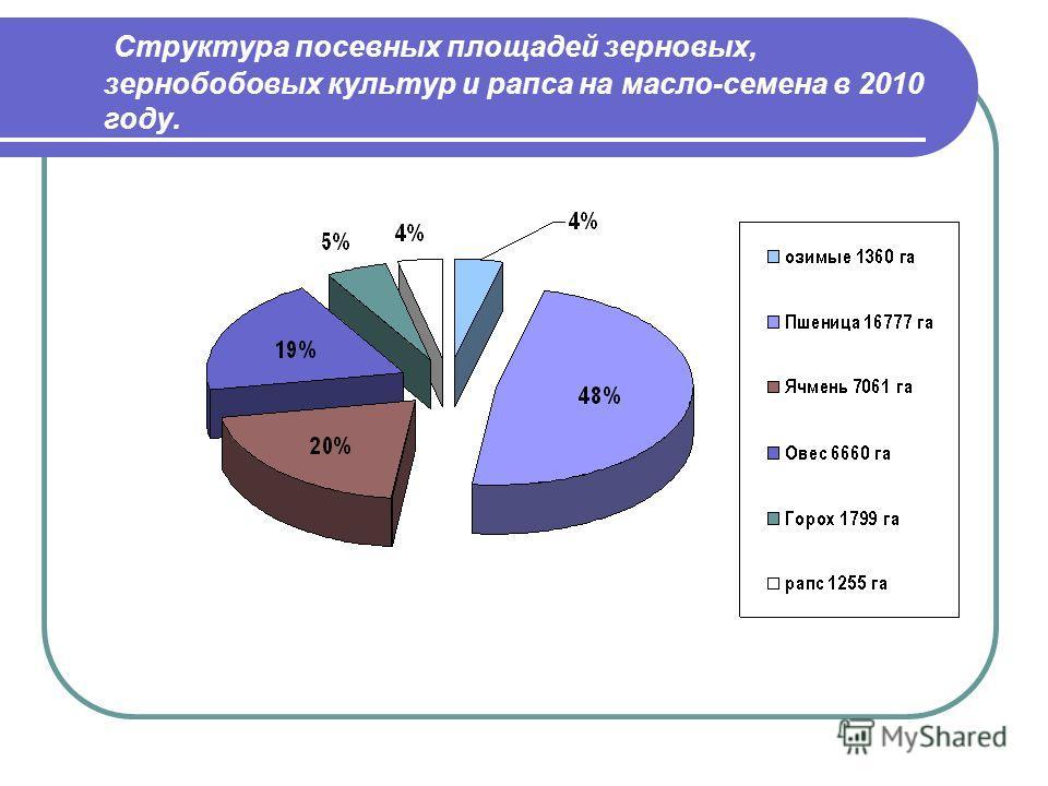 Структура посевных площадей зерновых, зернобобовых культур и рапса на масло-семена в 2010 году.