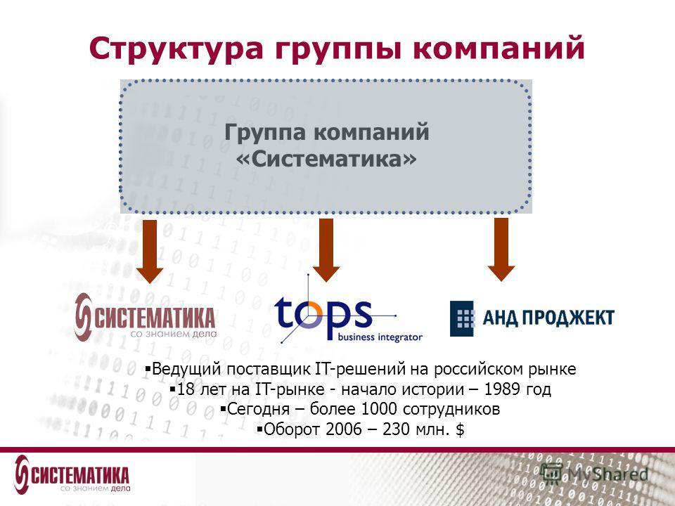 Группа компаний «Систематика» Ведущий поставщик IT-решений на российском рынке 18 лет на IT-рынке - начало истории – 1989 год Сегодня – более 1000 сотрудников Оборот 2006 – 230 млн. $ Структура группы компаний