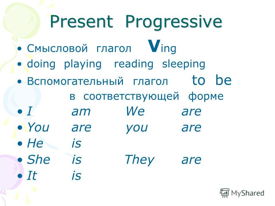 Present Progressive Смысловой глагол V ing doing playing reading sleeping Вспомогательный глагол to be в соответствующей форме I am We are You are you are He is She is They are It is