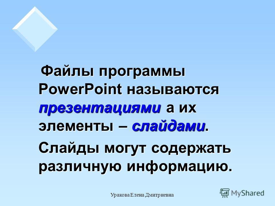 Уракова Елена Дмитриевна Файлы программы PowerPoint называются презентациями а их элементы – слайдами. Файлы программы PowerPoint называются презентациями а их элементы – слайдами. Слайды могут содержать различную информацию.