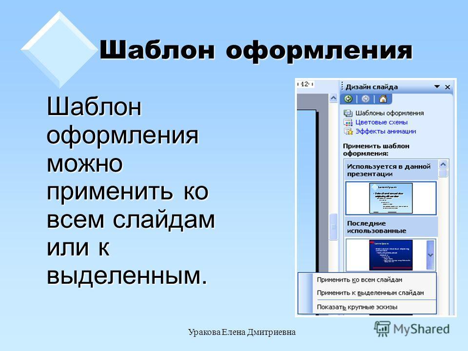 Уракова Елена Дмитриевна Шаблон оформления Шаблон оформления можно применить ко всем слайдам или к выделенным.