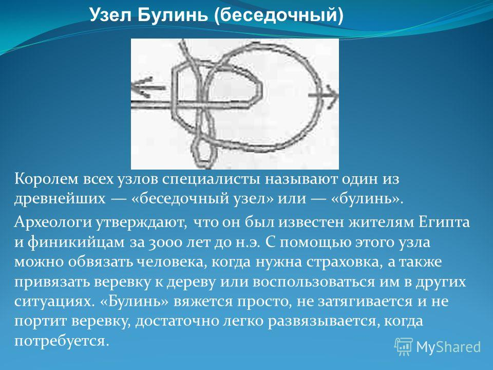 Королем всех узлов специалисты называют один из древнейших «беседочный узел» или «булинь». Археологи утверждают, что он был известен жителям Египта и финикийцам за 3000 лет до н.э. С помощью этого узла можно обвязать человека, когда нужна страховка,