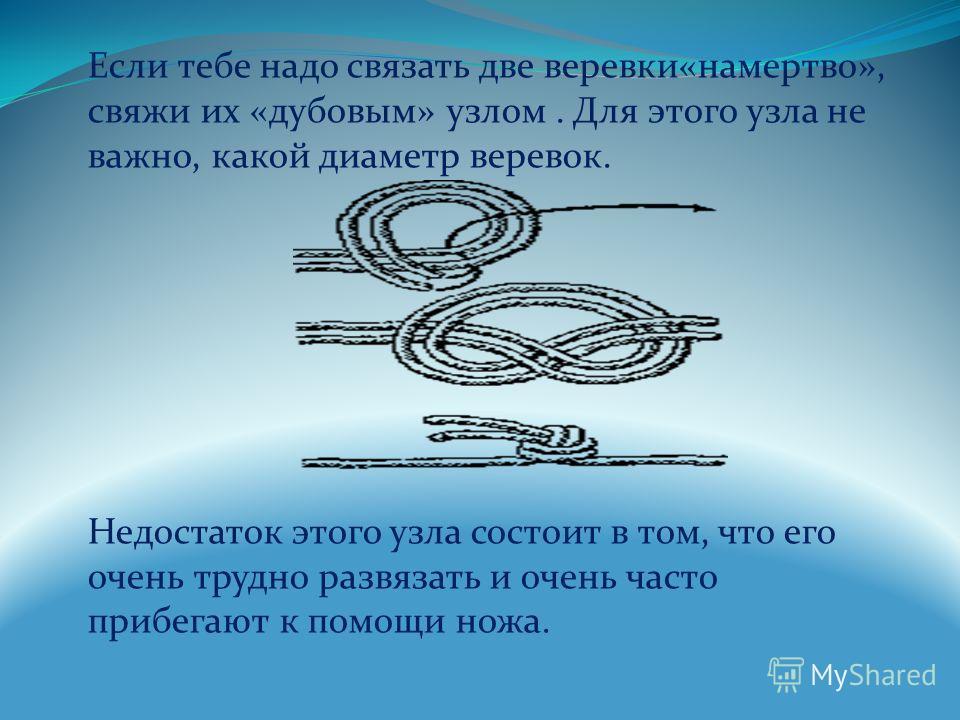 Если тебе надо связать две веревки«намертво», свяжи их «дубовым» узлом. Для этого узла не важно, какой диаметр веревок. Недостаток этого узла состоит в том, что его очень трудно развязать и очень часто прибегают к помощи ножа.