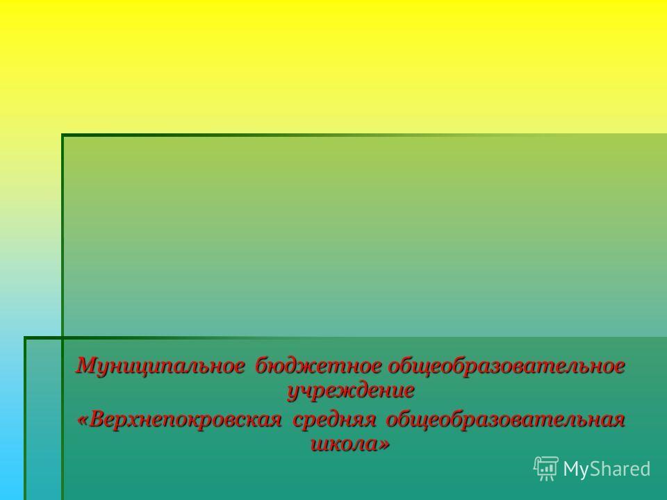 Муниципальное бюджетное общеобразовательное учреждение «Верхнепокровская средняя общеобразовательная школа»