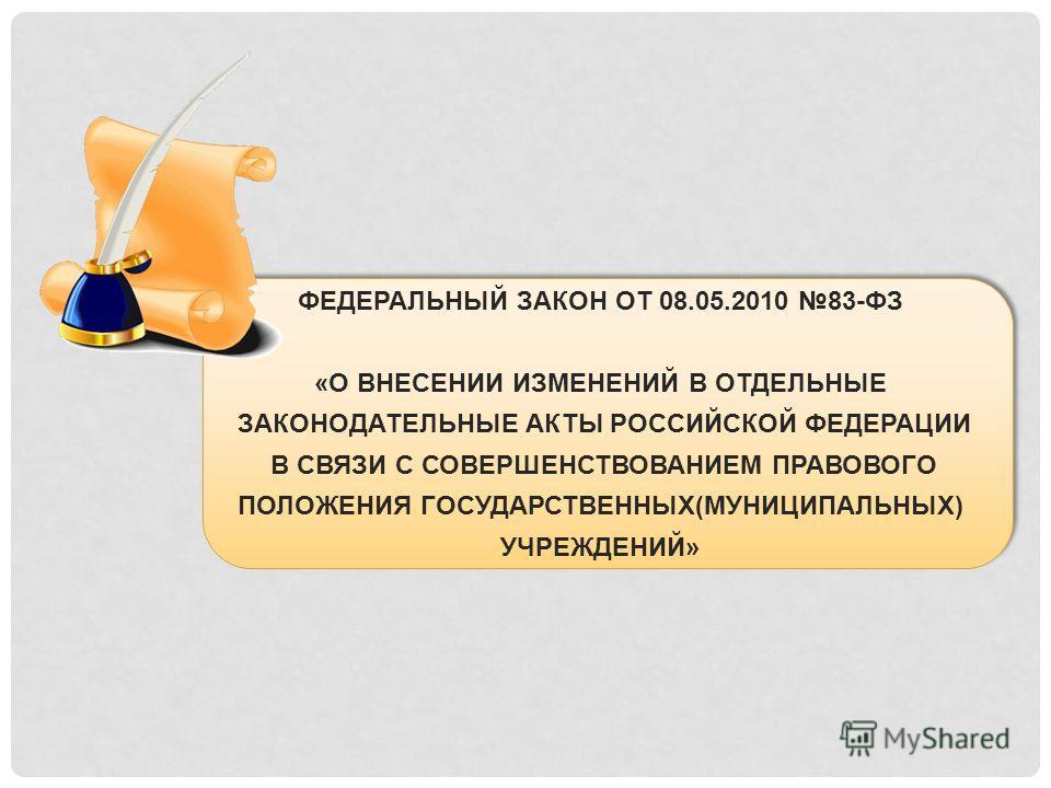 ФЕДЕРАЛЬНЫЙ ЗАКОН ОТ 08.05.2010 83-ФЗ «О ВНЕСЕНИИ ИЗМЕНЕНИЙ В ОТДЕЛЬНЫЕ ЗАКОНОДАТЕЛЬНЫЕ АКТЫ РОССИЙСКОЙ ФЕДЕРАЦИИ В СВЯЗИ С СОВЕРШЕНСТВОВАНИЕМ ПРАВОВОГО ПОЛОЖЕНИЯ ГОСУДАРСТВЕННЫХ(МУНИЦИПАЛЬНЫХ) УЧРЕЖДЕНИЙ»