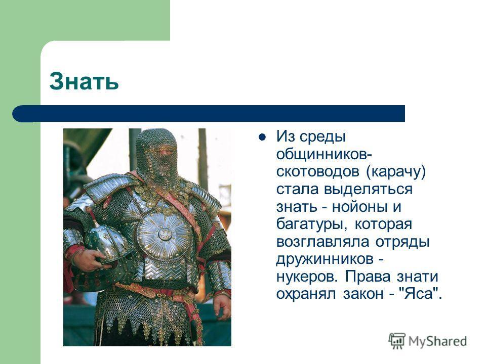 Знать Из среды общинников- скотоводов (карачу) стала выделяться знать - нойоны и багатуры, которая возглавляла отряды дружинников - нукеров. Права знати охранял закон - Яса.
