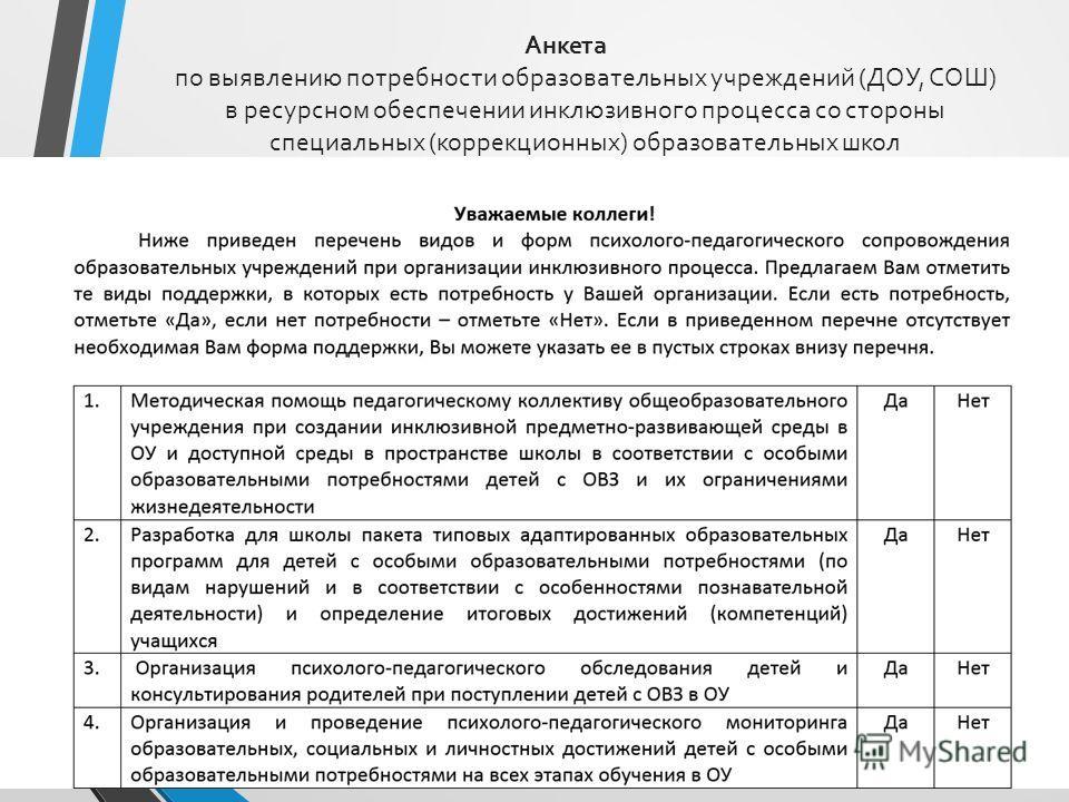 Анкета по выявлению потребности образовательных учреждений (ДОУ, СОШ) в ресурсном обеспечении инклюзивного процесса со стороны специальных (коррекционных) образовательных школ