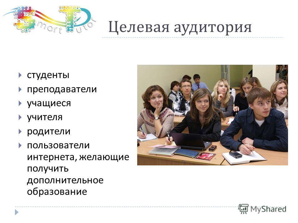 Целевая аудитория студенты преподаватели учащиеся учителя родители пользователи интернета, желающие получить дополнительное образование