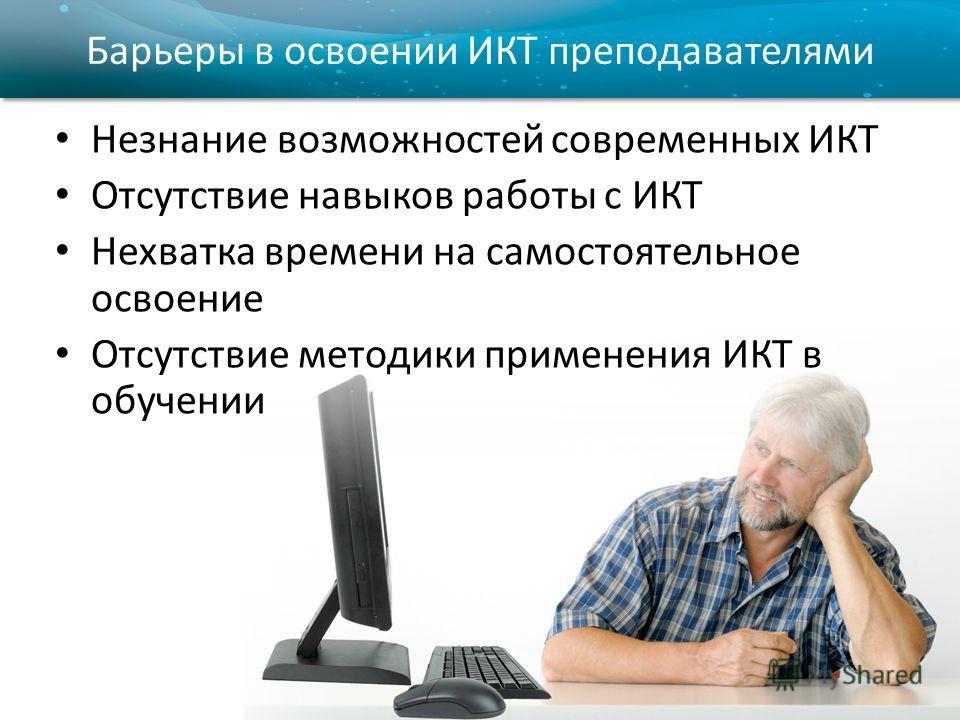 Барьеры в освоении ИКТ преподавателями Незнание возможностей современных ИКТ Отсутствие навыков работы с ИКТ Нехватка времени на самостоятельное освоение Отсутствие методики применения ИКТ в обучении