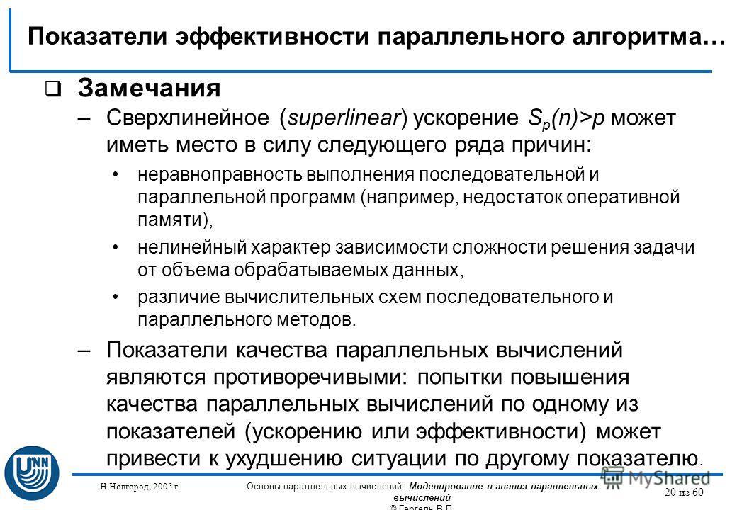 Н.Новгород, 2005 г. Основы параллельных вычислений: Моделирование и анализ параллельных вычислений © Гергель В.П. 20 из 60 Замечания –Сверхлинейное (superlinear) ускорение S p (n)>p может иметь место в силу следующего ряда причин: неравноправность вы