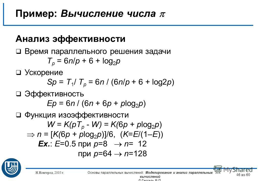 Н.Новгород, 2005 г. Основы параллельных вычислений: Моделирование и анализ параллельных вычислений © Гергель В.П. 46 из 60 Пример: Вычисление числа Анализ эффективности Время параллельного решения задачи T p = 6n/p + 6 + log 2 p Ускорение Sp = T 1 /