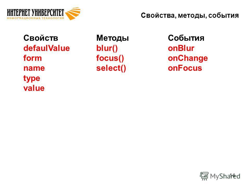 14 Свойства, методы, события Свойств defaulValue form name type value Методы blur() focus() select() События onBlur onChange onFocus