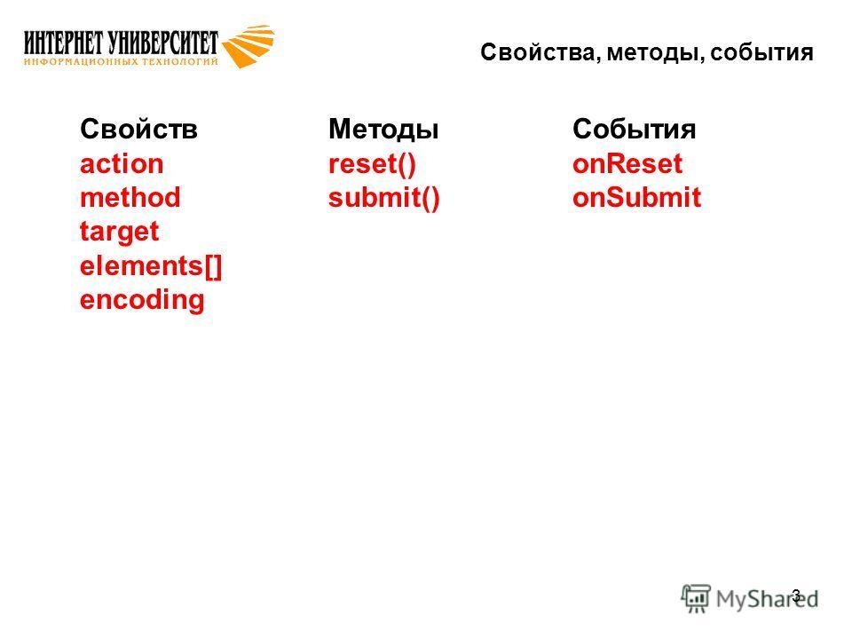 3 Свойства, методы, события Свойств action method target elements[] encoding Методы reset() submit() События onReset onSubmit