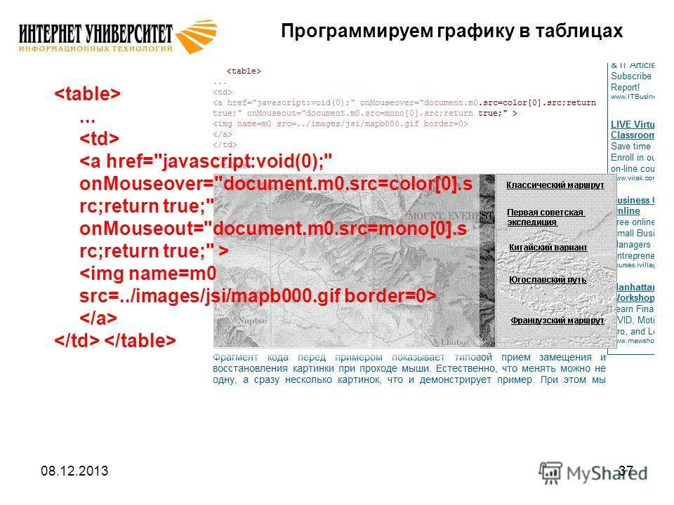 08.12.201337 Программируем графику в таблицах...
