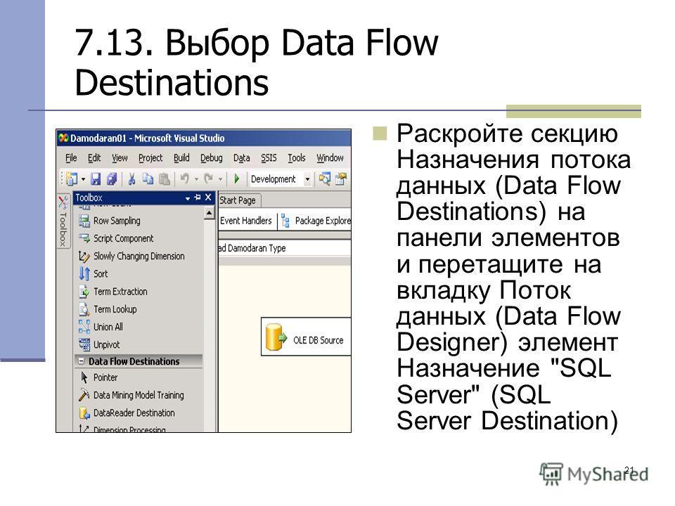 21 7.13. Выбор Data Flow Destinations Раскройте секцию Назначения потока данных (Data Flow Destinations) на панели элементов и перетащите на вкладку Поток данных (Data Flow Designer) элемент Назначение SQL Server (SQL Server Destination)