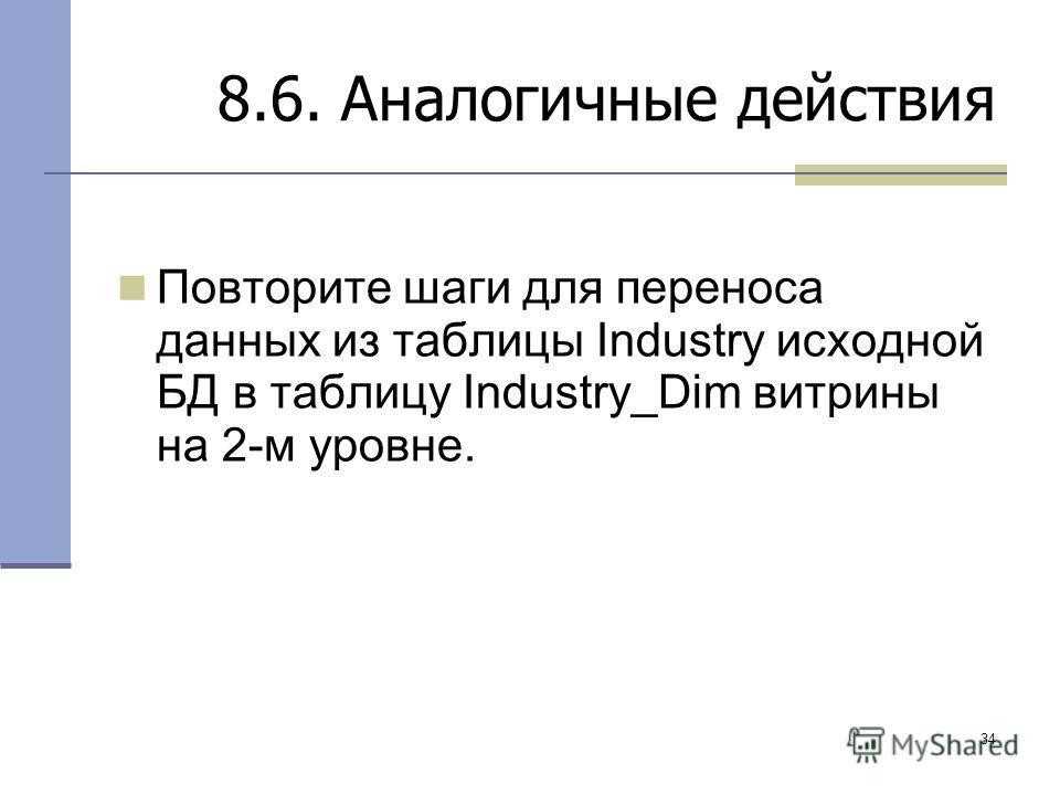 34 8.6. Аналогичные действия Повторите шаги для переноса данных из таблицы Industry исходной БД в таблицу Industry_Dim витрины на 2-м уровне.
