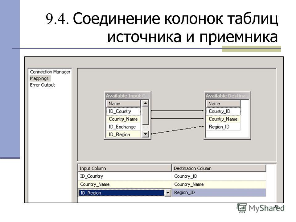 39 9.4. Соединение колонок таблиц источника и приемника
