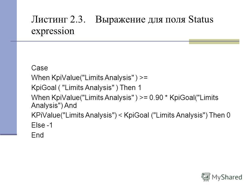 Листинг 2.3. Выражение для поля Status expression Case When KpiValue(
