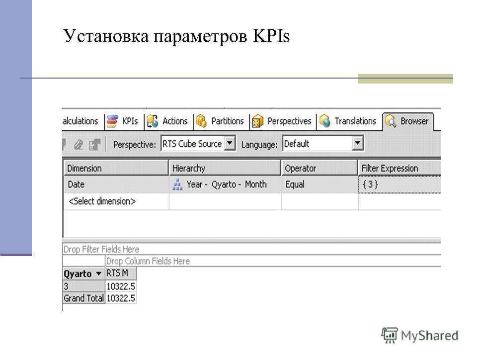 Установка параметров KPIs