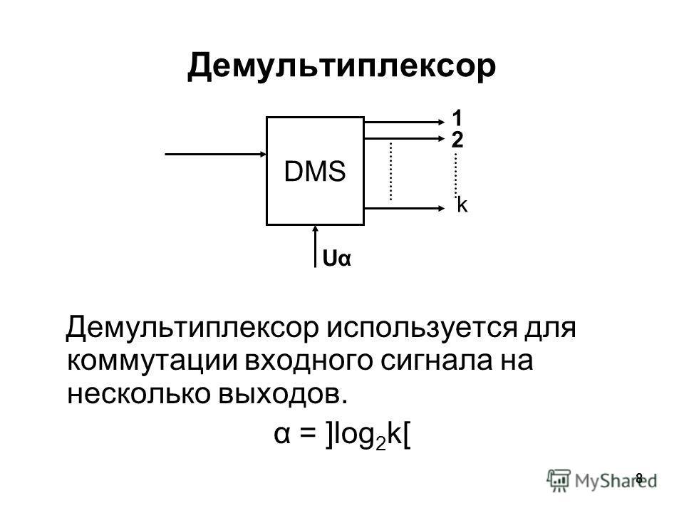8 Демультиплексор Демультиплексор используется для коммутации входного сигнала на несколько выходов. α = ]log 2 k[ DMS 1 2 k UαUα