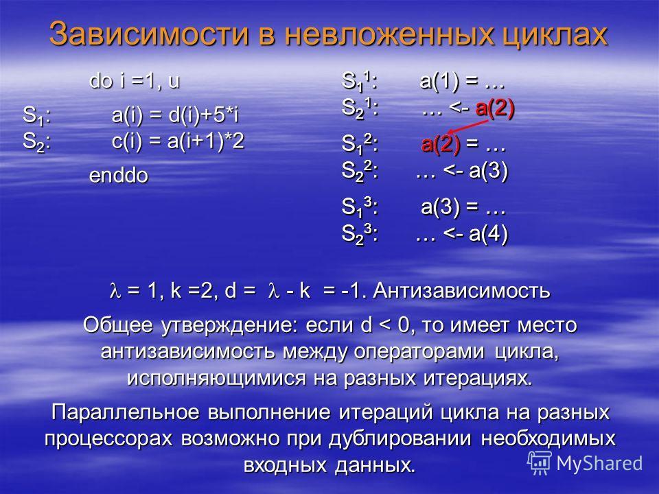 Зависимости в невложенных циклах = 1, k =2, d = - k = -1. Антизависимость = 1, k =2, d = - k = -1. Антизависимость Общее утверждение: если d < 0, то имеет место антизависимость между операторами цикла, исполняющимися на разных итерациях. Параллельное