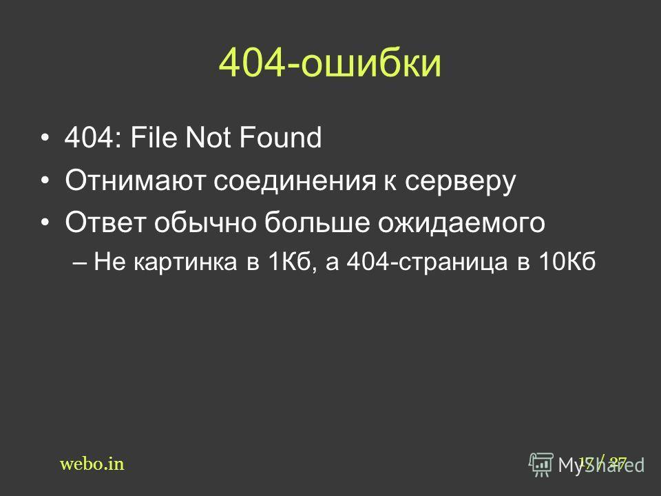 404-ошибки 404: File Not Found Отнимают соединения к серверу Ответ обычно больше ожидаемого –Не картинка в 1Кб, а 404-страница в 10Кб 17 / 27 webo.in