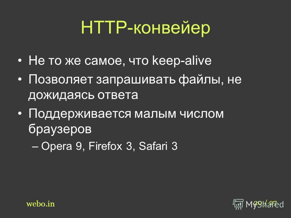 HTTP-конвейер Не то же самое, что keep-alive Позволяет запрашивать файлы, не дожидаясь ответа Поддерживается малым числом браузеров –Opera 9, Firefox 3, Safari 3 20 / 27 webo.in